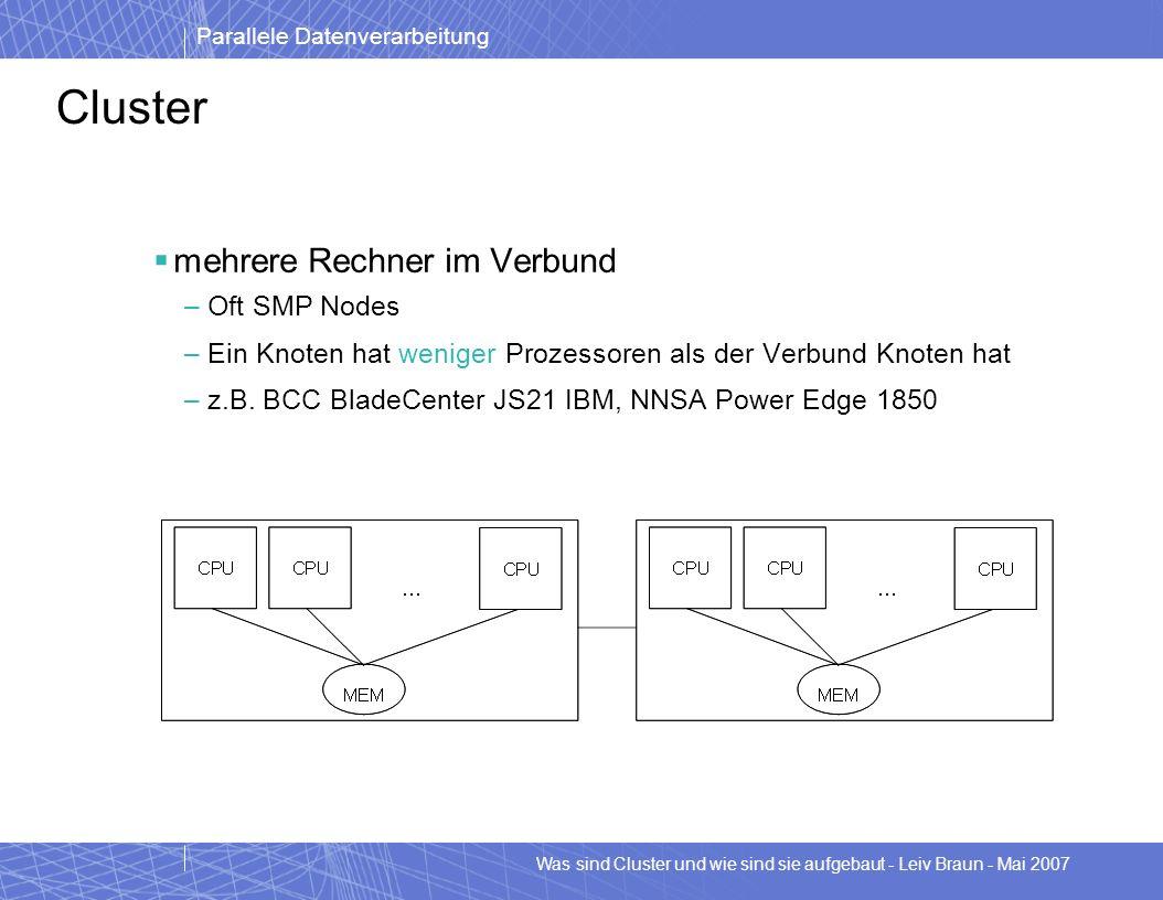 Cluster mehrere Rechner im Verbund Oft SMP Nodes