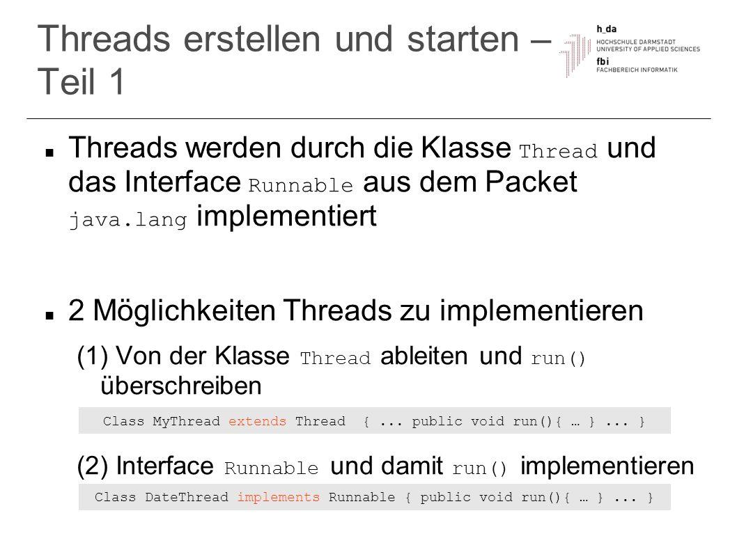 Threads erstellen und starten – Teil 1