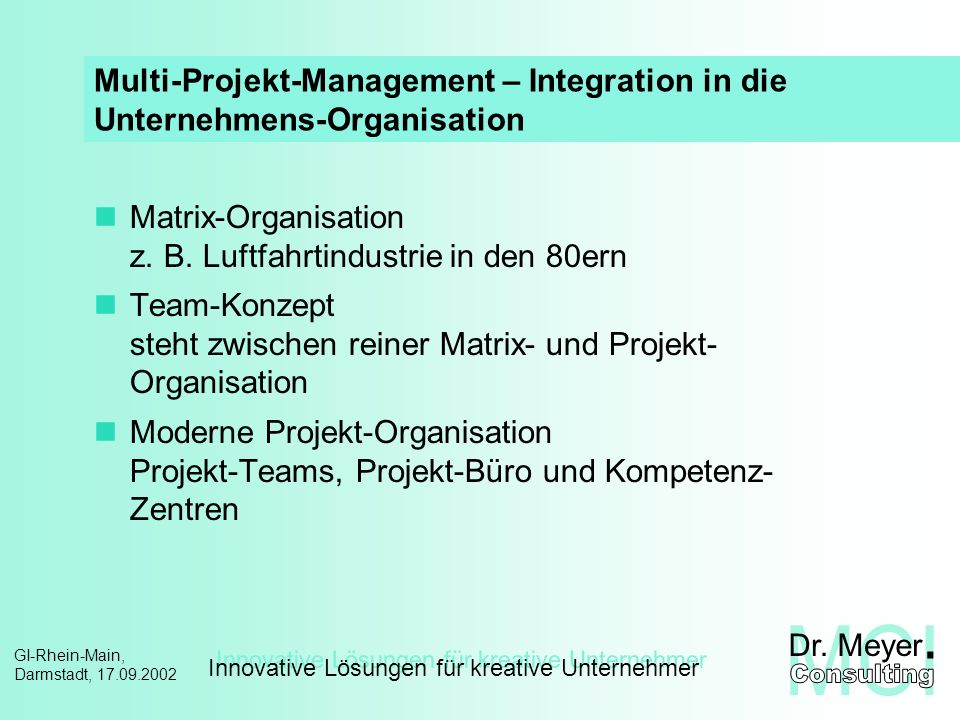 Multi-Projekt-Management – Integration in die Unternehmens-Organisation