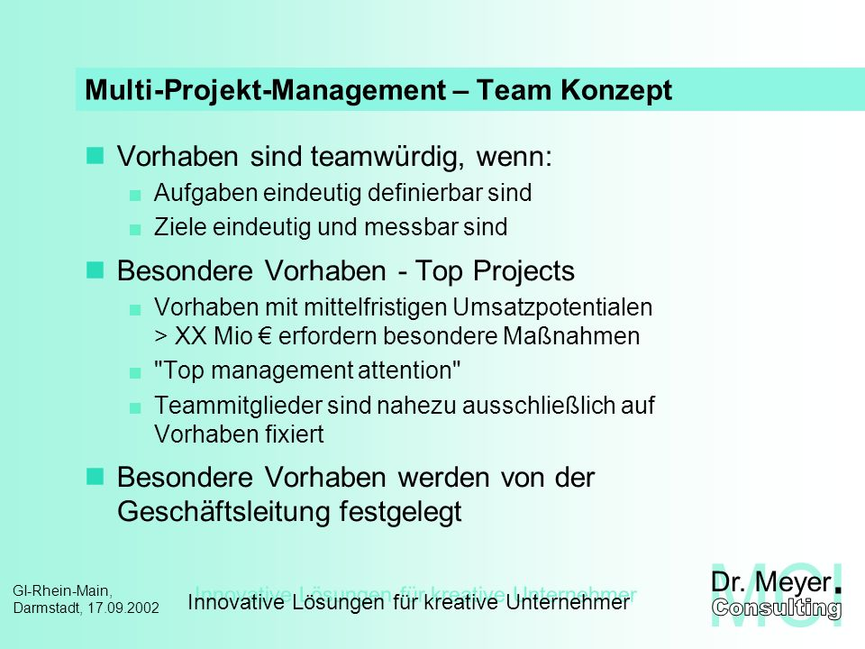 Multi-Projekt-Management – Team Konzept