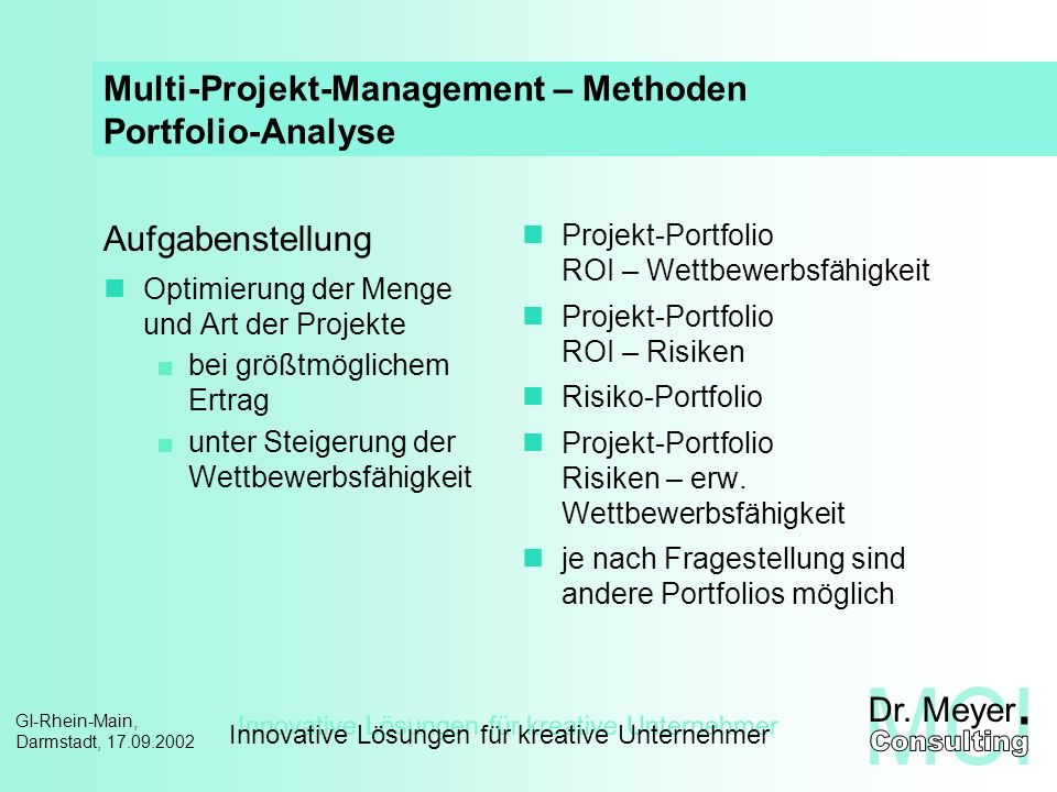 Multi-Projekt-Management – Methoden Portfolio-Analyse