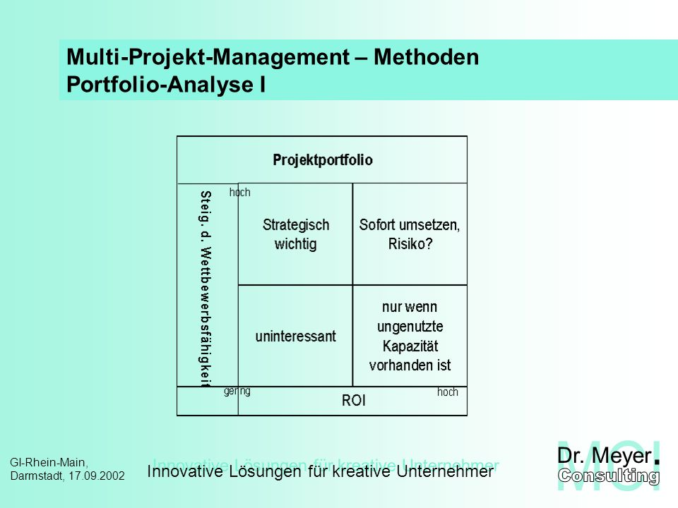 Multi-Projekt-Management – Methoden Portfolio-Analyse I