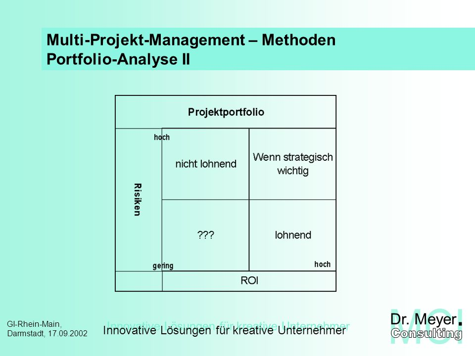 Multi-Projekt-Management – Methoden Portfolio-Analyse II