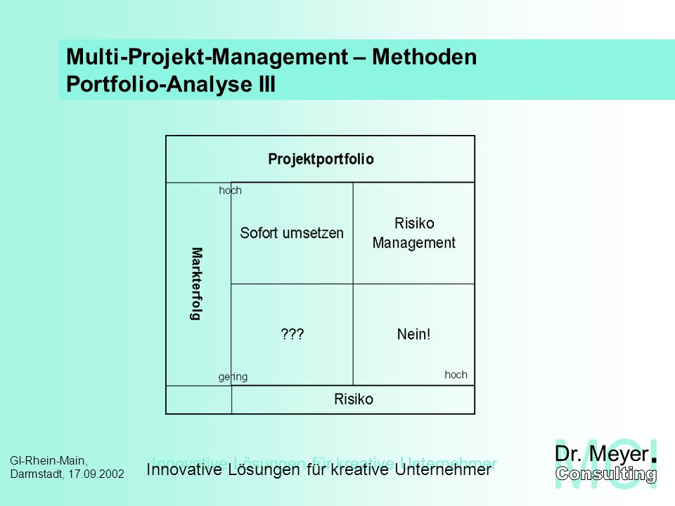 Multi-Projekt-Management – Methoden Portfolio-Analyse III
