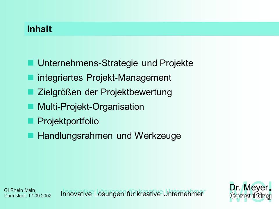 Inhalt Unternehmens-Strategie und Projekte. integriertes Projekt-Management. Zielgrößen der Projektbewertung.