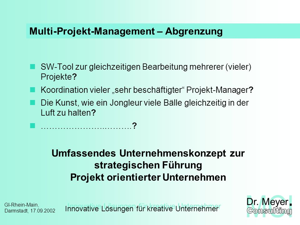 Multi-Projekt-Management – Abgrenzung