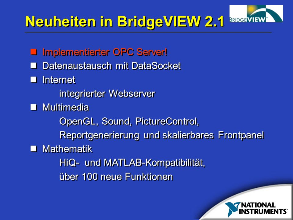 Neuheiten in BridgeVIEW 2.1