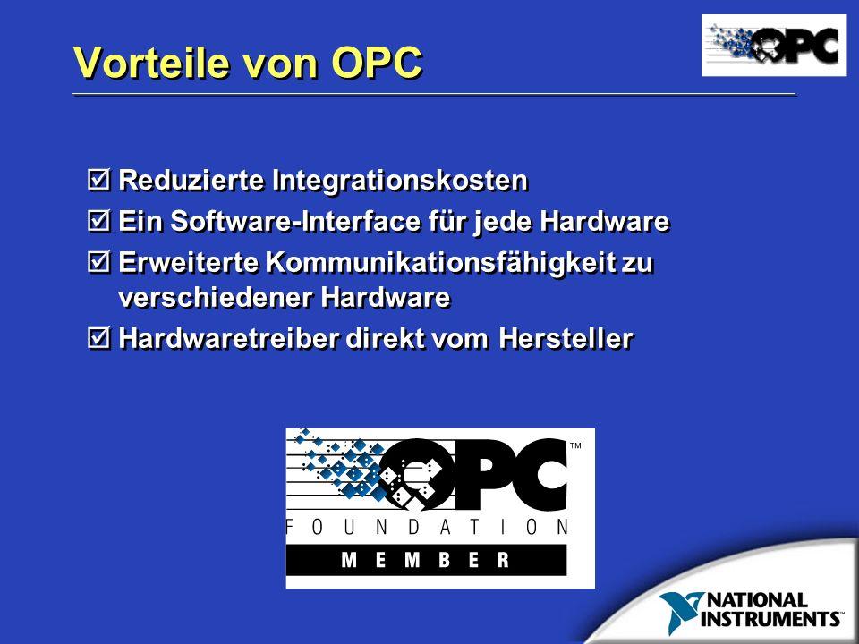 Vorteile von OPC Reduzierte Integrationskosten