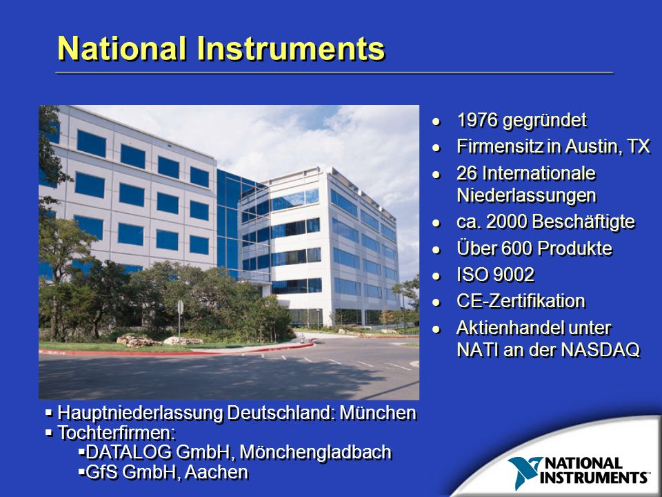 National Instruments 1976 gegründet Firmensitz in Austin, TX