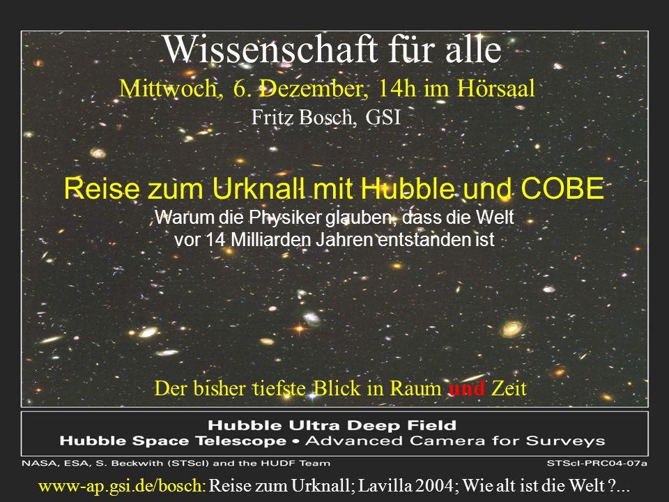 Wissenschaft für alle Reise zum Urknall mit Hubble und COBE