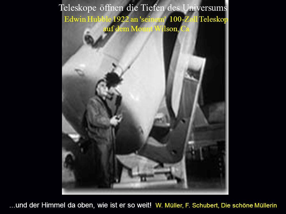 Edwin Hubble 1922 an seinem 100-Zoll Teleskop
