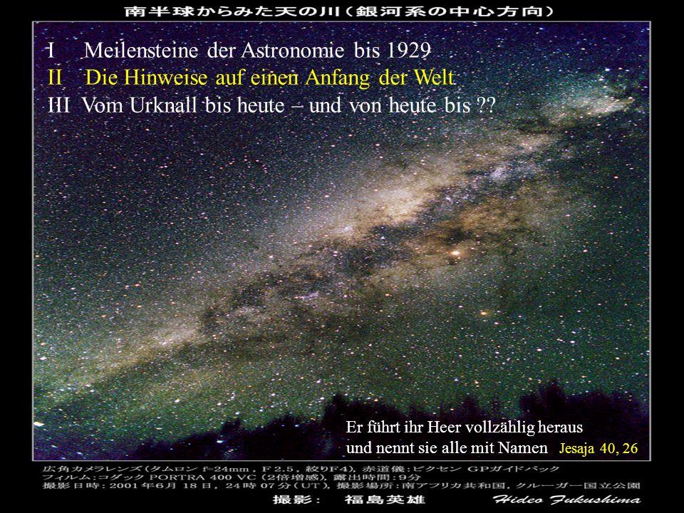 I Meilensteine der Astronomie bis 1929