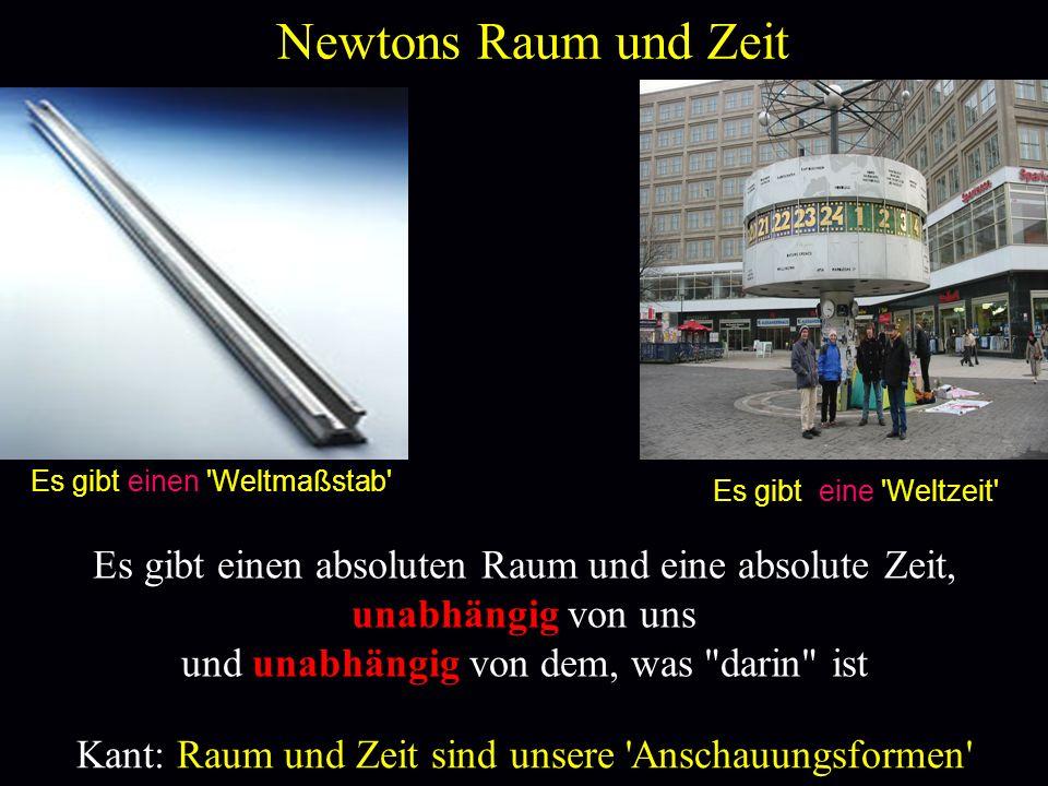 Newtons Raum und Zeit Es gibt einen Weltmaßstab Es gibt eine Weltzeit Es gibt einen absoluten Raum und eine absolute Zeit,