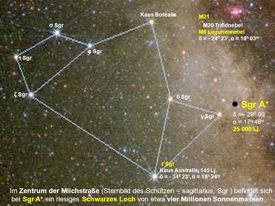 Kaus Borealis M21. σ Sgr. M20 Trifidnebel. M8 Lagunennebel. δ = - 240 23 , α = 18h 03m. φ Sgr.