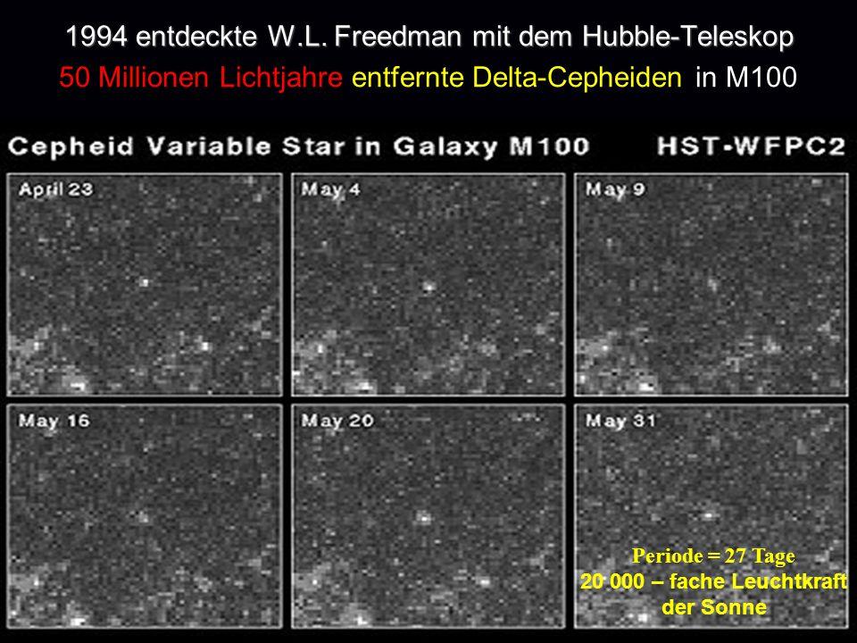1994 entdeckte W.L. Freedman mit dem Hubble-Teleskop 50 Millionen Lichtjahre entfernte Delta-Cepheiden in M100