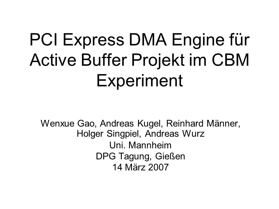 PCI Express DMA Engine für Active Buffer Projekt im CBM Experiment