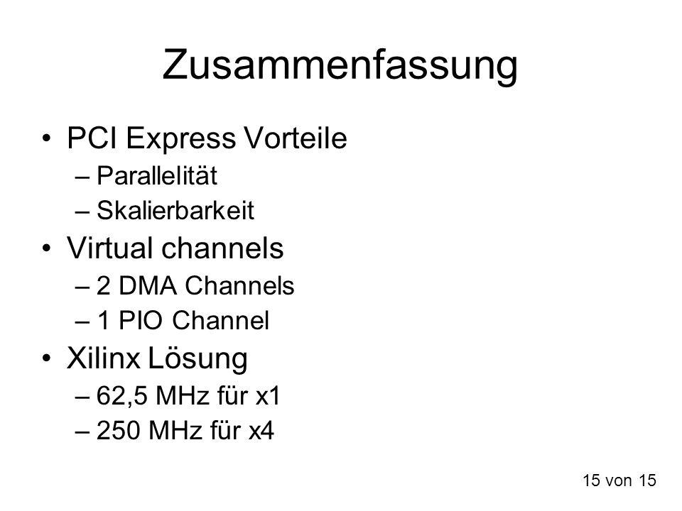 Zusammenfassung PCI Express Vorteile Virtual channels Xilinx Lösung