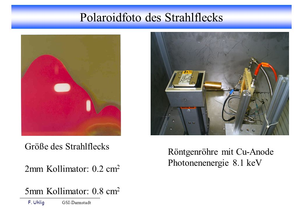 Polaroidfoto des Strahlflecks