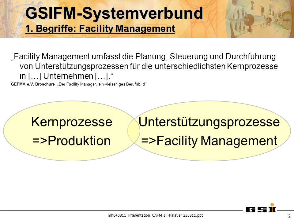 GSIFM-Systemverbund 1. Begriffe: Facility Management