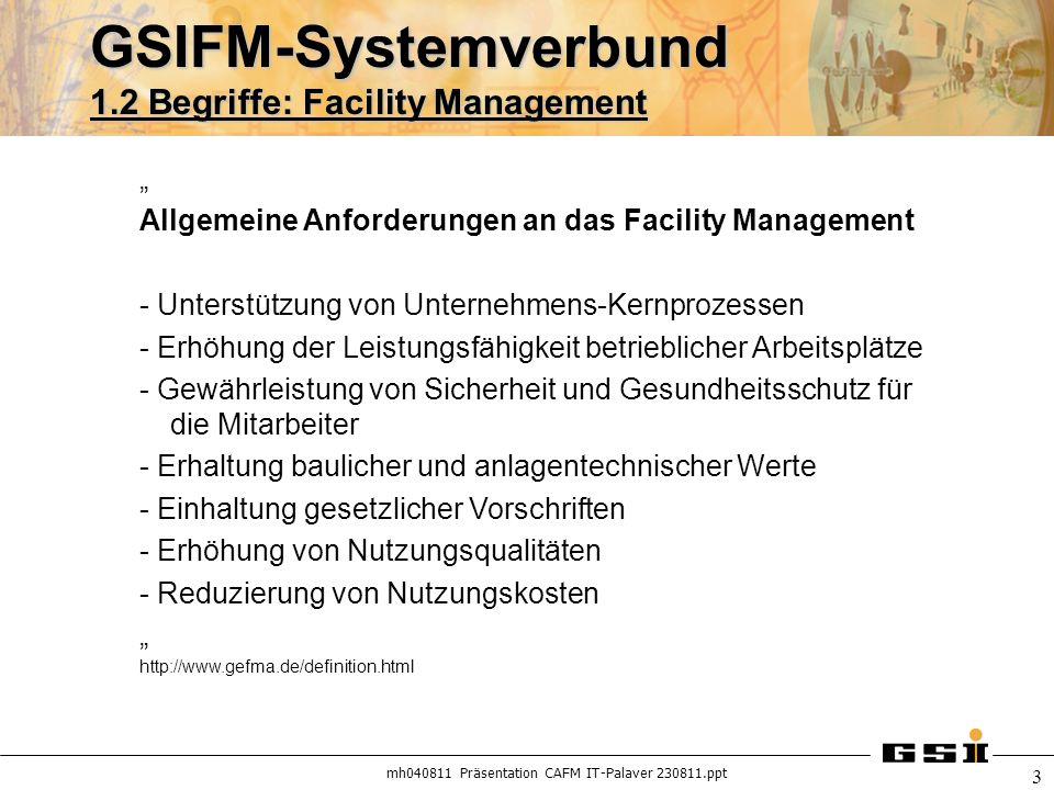 GSIFM-Systemverbund 1.2 Begriffe: Facility Management