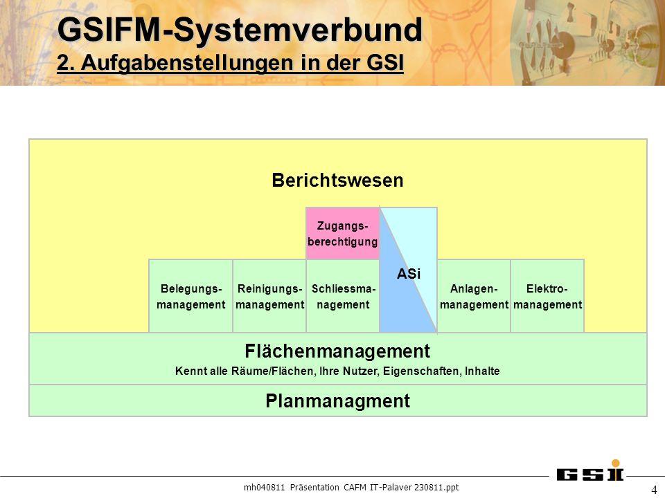 GSIFM-Systemverbund 2. Aufgabenstellungen in der GSI