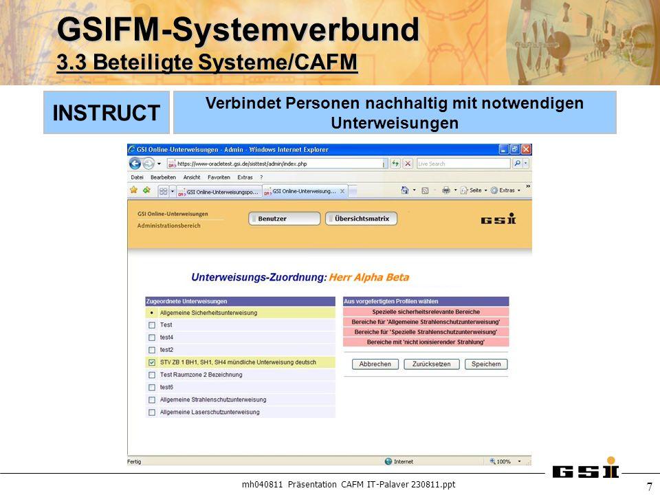GSIFM-Systemverbund 3.3 Beteiligte Systeme/CAFM