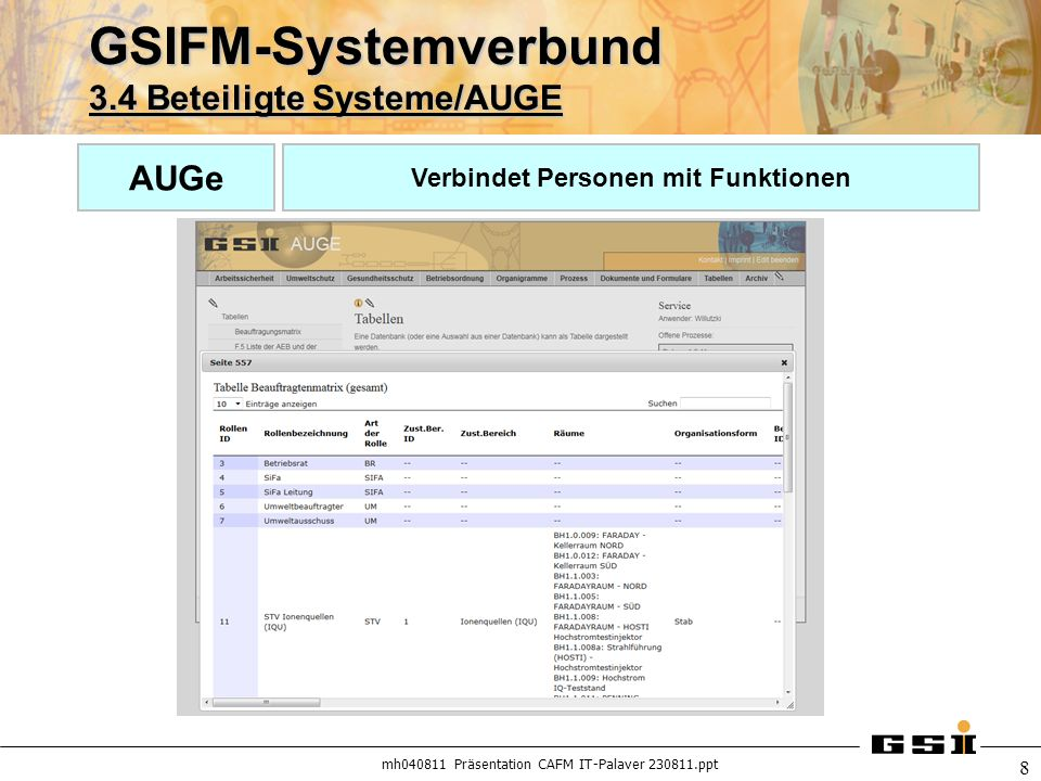 GSIFM-Systemverbund 3.4 Beteiligte Systeme/AUGE