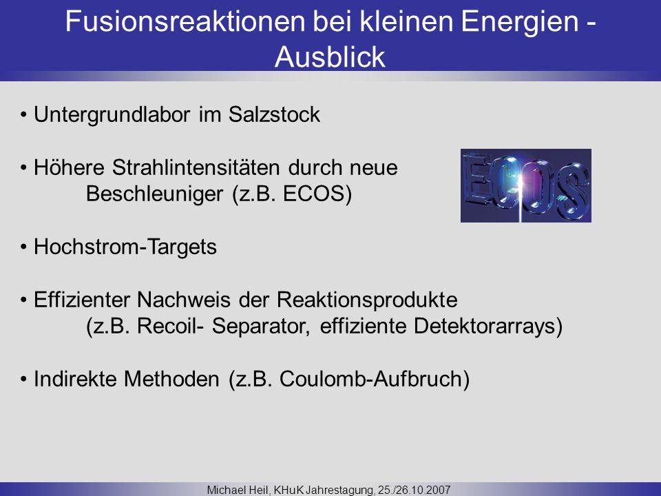 Fusionsreaktionen bei kleinen Energien - Ausblick