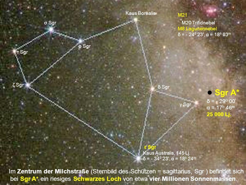 Kaus BorealisM21. σ Sgr. M20 Trifidnebel. M8 Lagunennebel. δ = - 240 23 , α = 18h 03m. φ Sgr. τ Sgr.