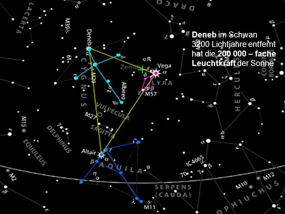 Deneb im Schwan 3200 Lichtjahre entfernt hat die 200 000 – fache Leuchtkraft der Sonne