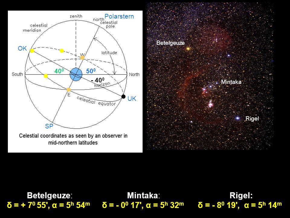 ● ● ● ● ● ● Betelgeuze: δ = + 70 55 , α = 5h 54m Mintaka: