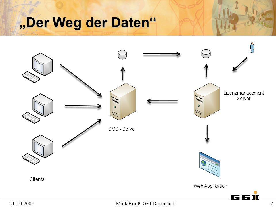 """""""Der Weg der Daten 21.10.2008 Maik Fraiß, GSI Darmstadt"""