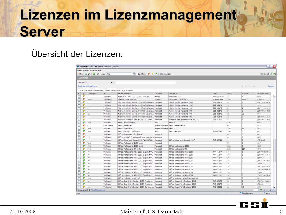 Lizenzen im Lizenzmanagement Server