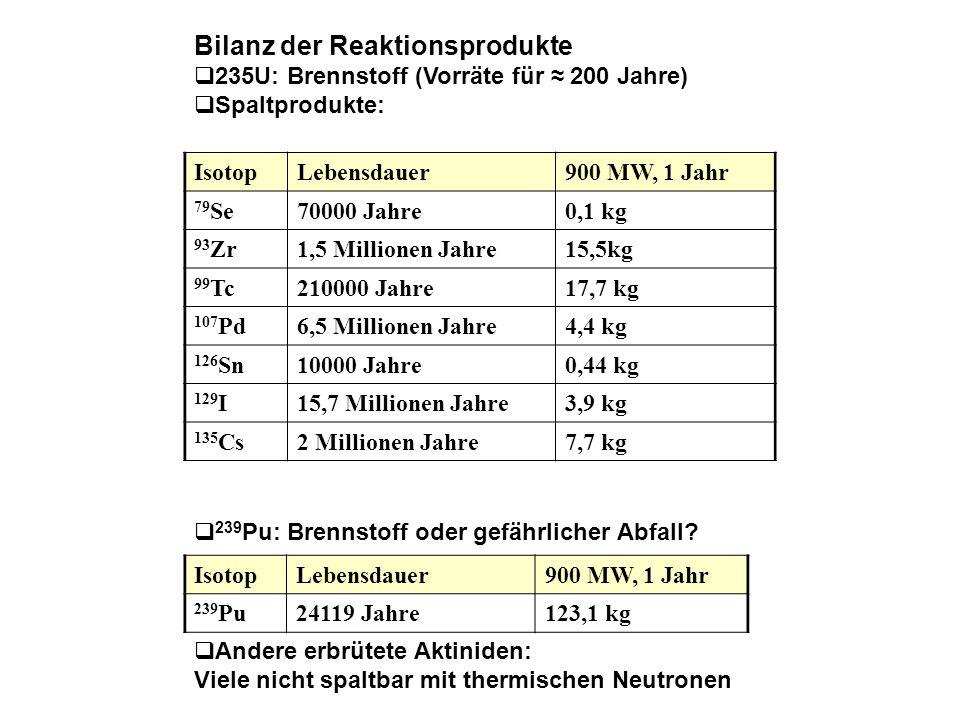 Bilanz der Reaktionsprodukte