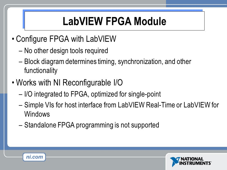 LabVIEW FPGA Module Configure FPGA with LabVIEW