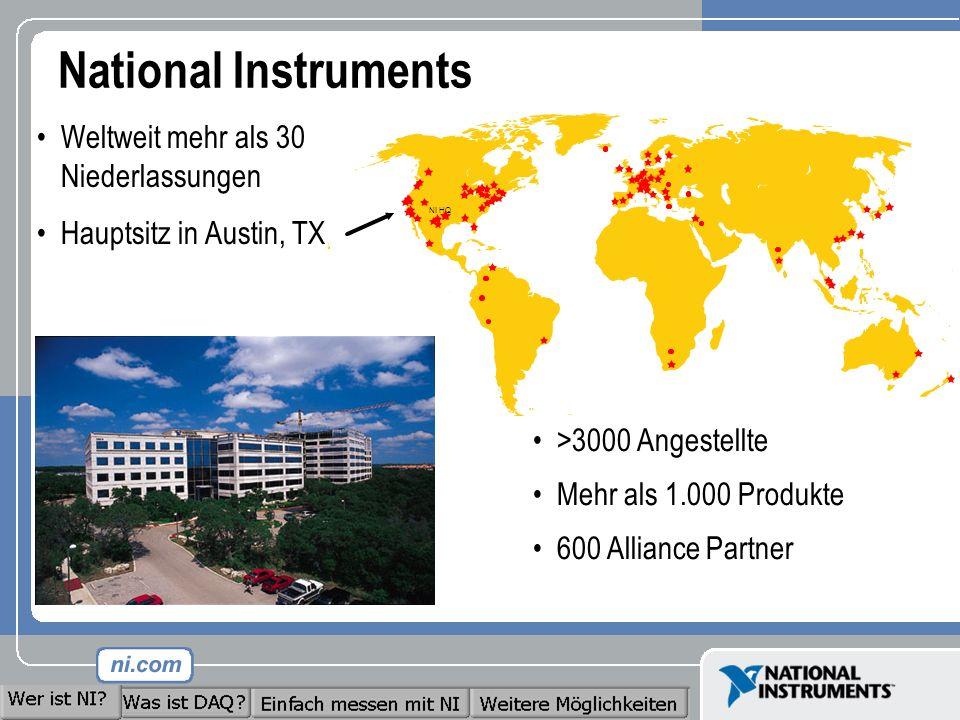 National Instruments Weltweit mehr als 30 Niederlassungen