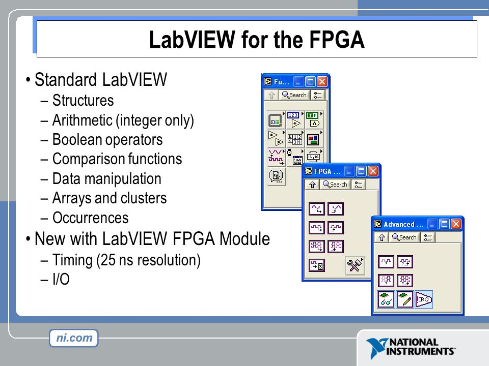 LabVIEW for the FPGA Standard LabVIEW New with LabVIEW FPGA Module