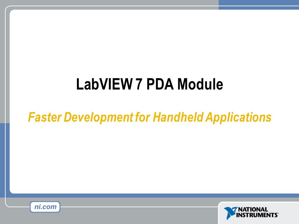 Faster Development for Handheld Applications
