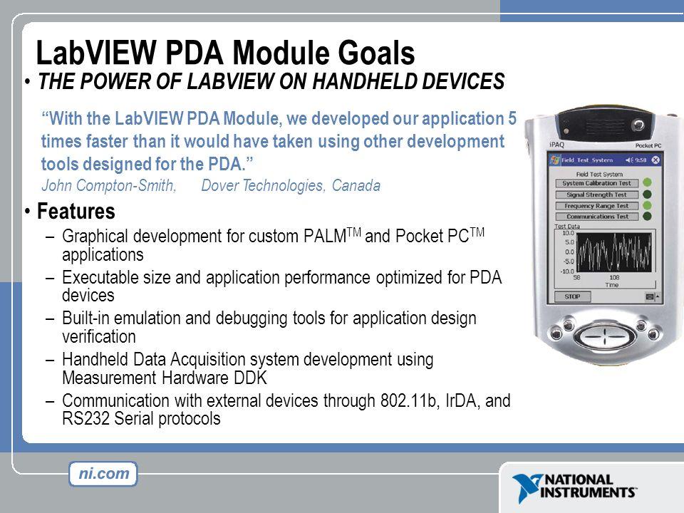 LabVIEW PDA Module Goals