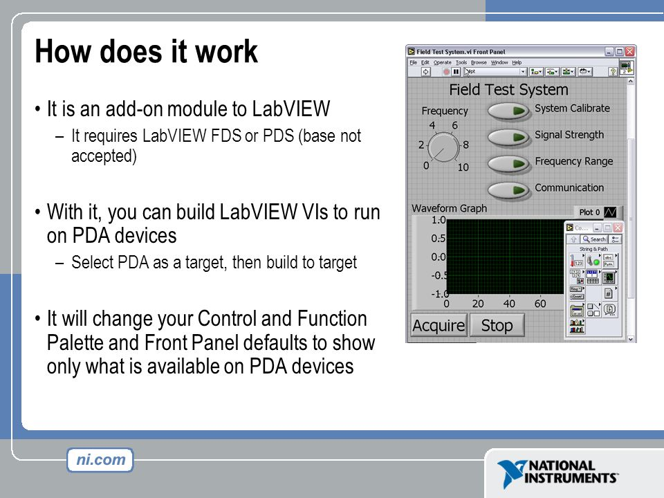 How does it work It is an add-on module to LabVIEW