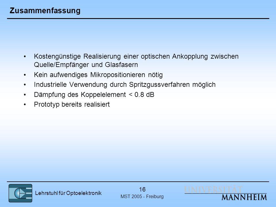 Zusammenfassung Kostengünstige Realisierung einer optischen Ankopplung zwischen Quelle/Empfänger und Glasfasern.