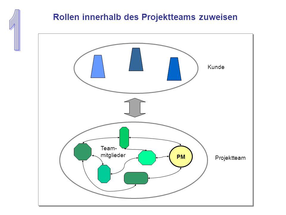 Rollen innerhalb des Projektteams zuweisen