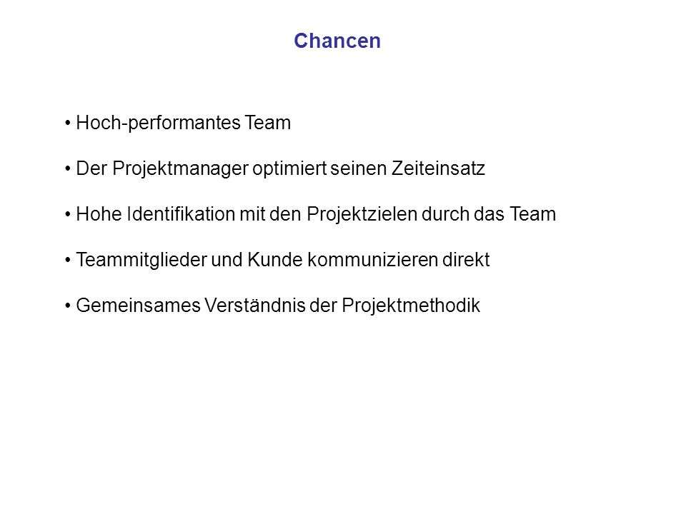 Chancen Hoch-performantes Team