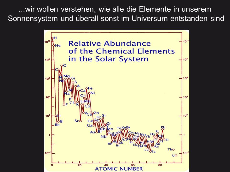 ...wir wollen verstehen, wie alle die Elemente in unserem Sonnensystem und überall sonst im Universum entstanden sind