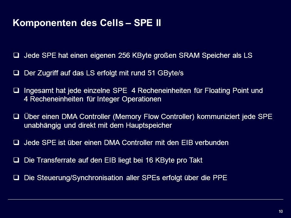 Komponenten des Cells – SPE II