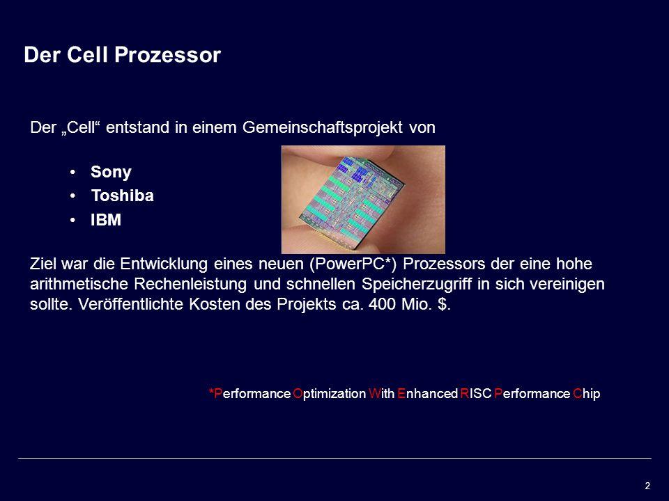 """Der Cell Prozessor Der """"Cell entstand in einem Gemeinschaftsprojekt von. Sony. Toshiba. IBM."""