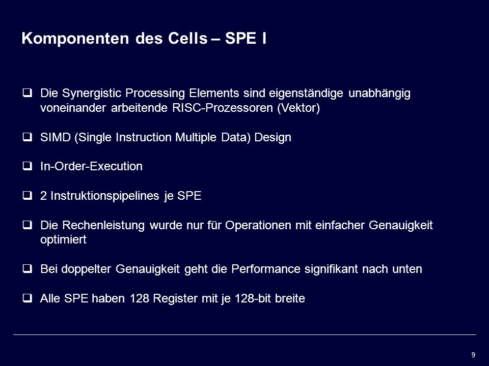 Komponenten des Cells – SPE I