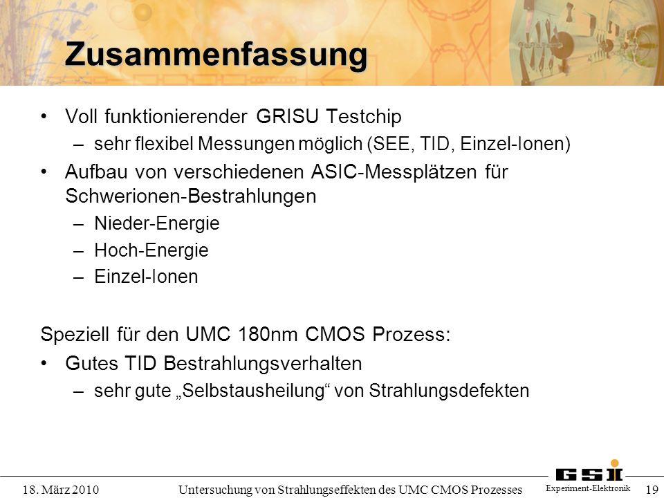Untersuchung von Strahlungseffekten des UMC CMOS Prozesses