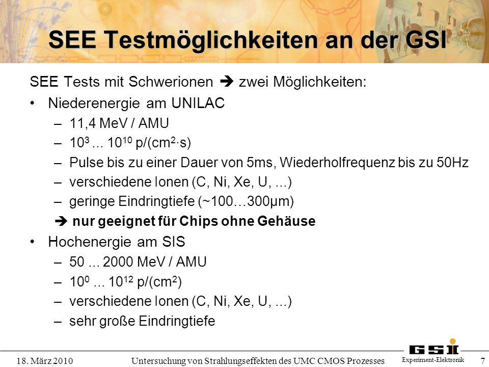 SEE Testmöglichkeiten an der GSI