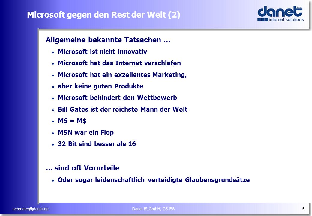Microsoft gegen den Rest der Welt (2)